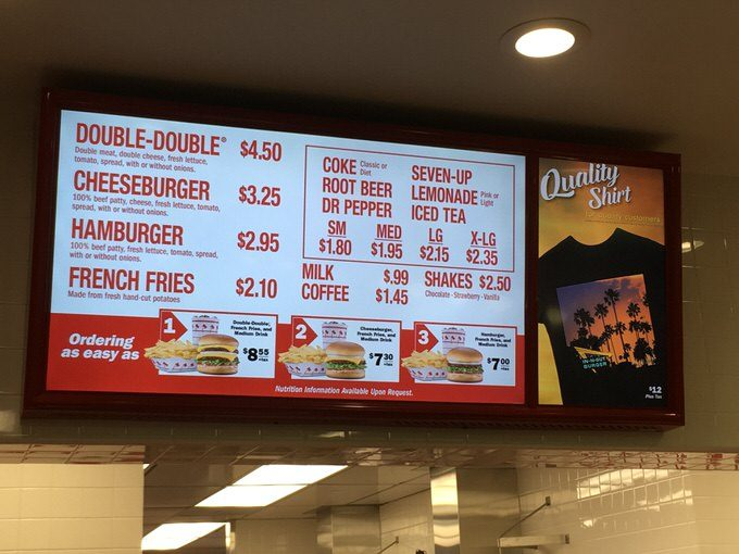 IN-N-OUTのメニュー