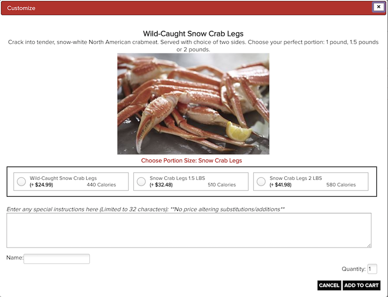 Wild-Caught Snow Crab Legsの注文画面その1
