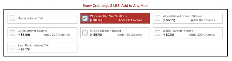 Wild-Caught Snow Crab Legsの注文画面その4